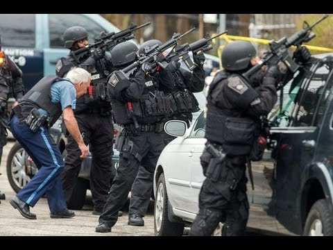 Boston Swat Teams Order Americans Out Of Homes At Gunpoint! - YouTube
