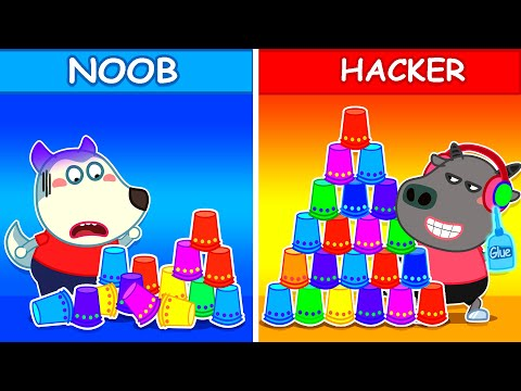 Wolf Family⭐️ Wolfoo Pretend Play stacking Game with Giant Cup Wall | Kids Cartoon |