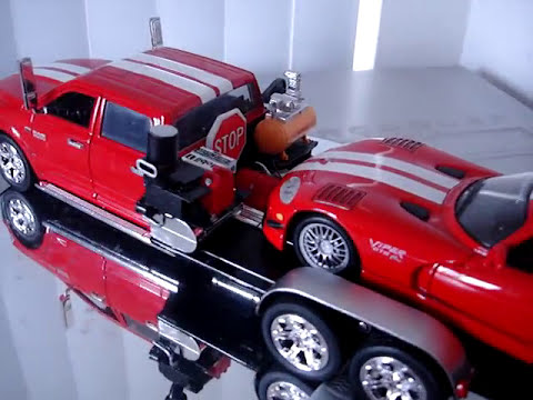 1/24 Dodge Ram custom Raceway trailer police sheriff trooper Viper GTS-R