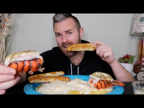 LOBSTER TAILS WITH LOBSTER RAVIOLI | MUKBANG (EATING SHOW)