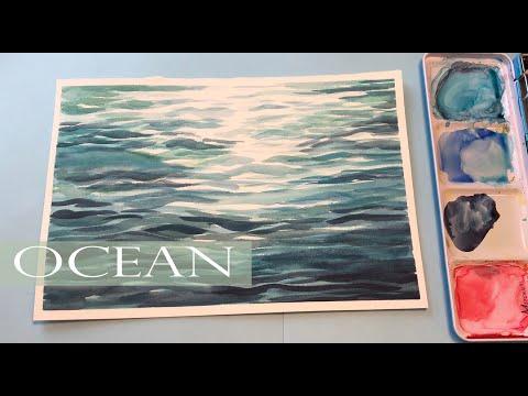 Watercolor Ocean Painting/ Wave Ripples [Step By Step] Watercolor Ocean Waves