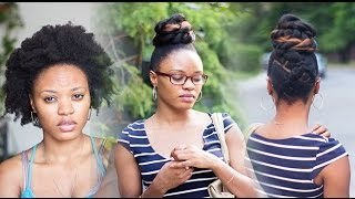 From Afro To Slick Creative High Bun on 4C Hair