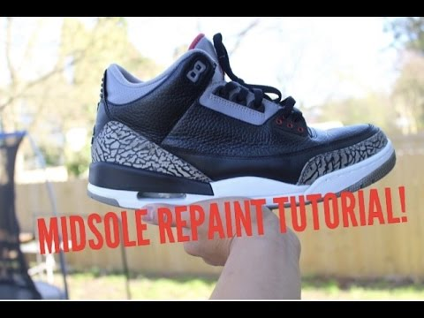 e9bfb20a502574 TUTORIAL  How To Repaint Your Jordan 3 Midsole  Repainting Cement 3 -  YouTube