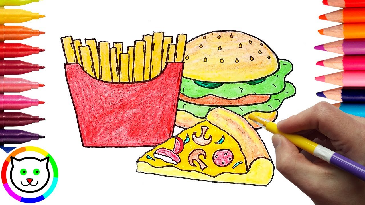 how to draw pizza hamburger french fries coloring pages fast