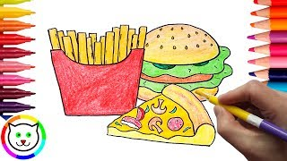 How to Draw Pizza, Hamburger, French Fries Coloring Pages Fast Food | Learn Drawing for Children