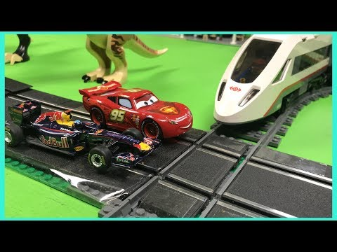 SLOT CAR VS TRAIN JUMP AND CROSSING – Carrera Go and LEGO
