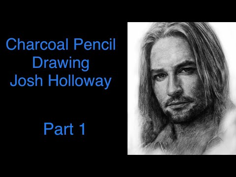 Hand drawn realistic charcoal pencil portrait drawing sketch part 1