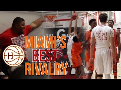 (CRAZY)Miami's BEST HIGHSCHOOL BASKETBALL RIVALRY Ends in BUZZER BEATER! South Miami vs Coral Gables