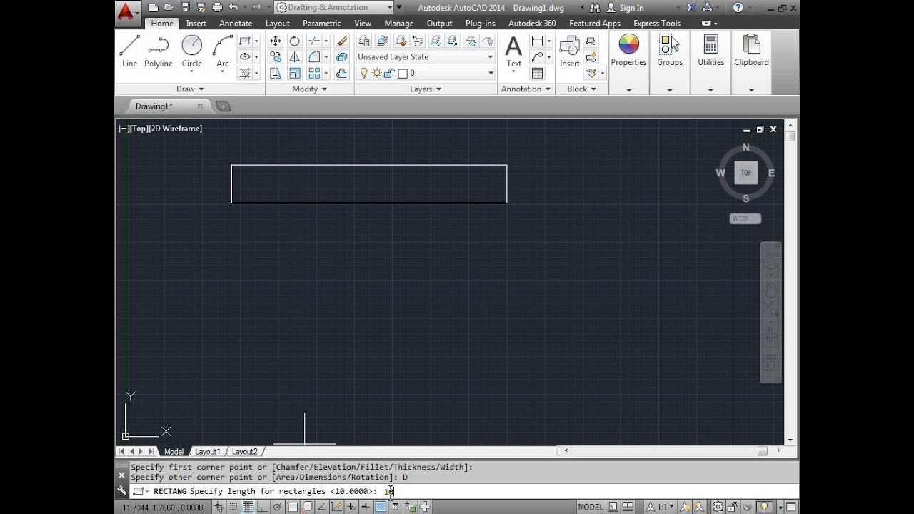 how to draw a rectangle in autocad 2014