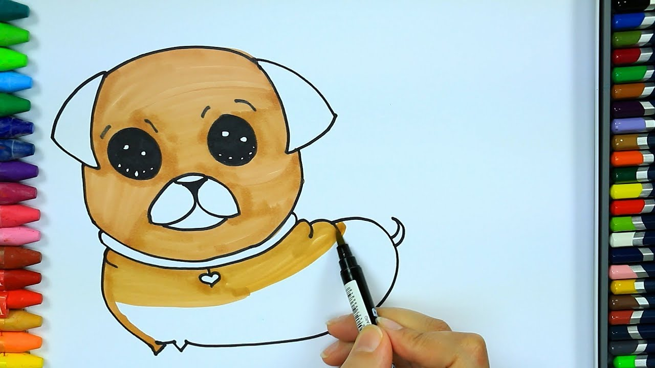 Wie zeichnet man Mops 💛 | Ausmalen Kinder HD | Malen für Kinder ...