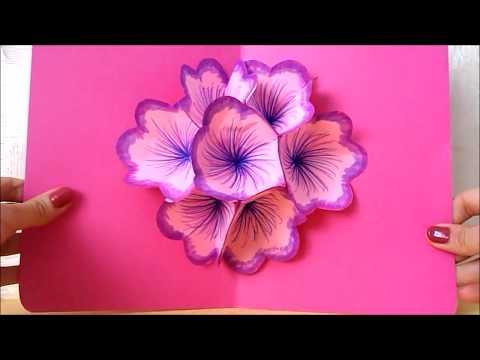 Easy paper craft: DIY flower pop up card | DIY 3D card | Birthday card for friends | MaisonZizou