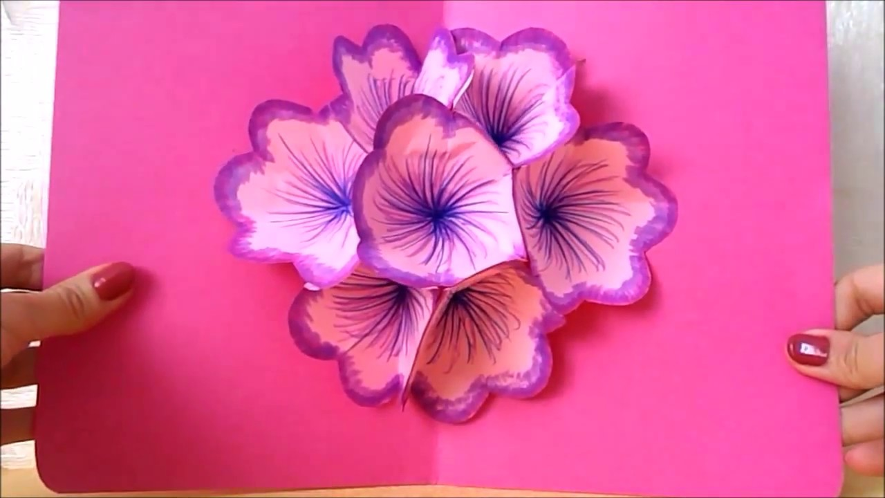 Easy Paper Craft DIY Flower Pop Up Card