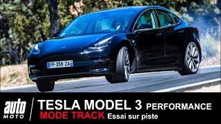 TESLA MODEL 3 Performance 460 ch sur circuit MODE TRACK ESSAI Auto-Moto