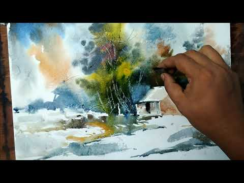 Landscape painting trees watercolor | Art Explain