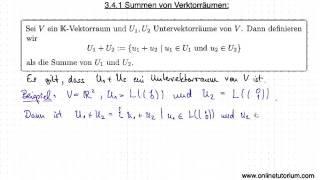 Summen von Verktorräumen Teil I - Mathematik Videos & Erklärungen