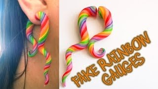 RAINBOW SWIRL *Fake Stretched Ear* Large Gauge Earring Polymer Clay Tutorial