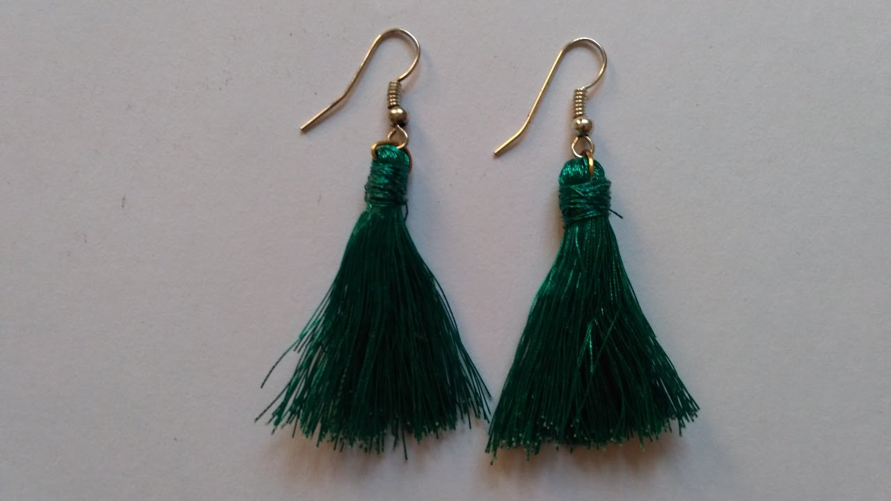 How to make fancy silk thread designer earrings at home. - YouTube