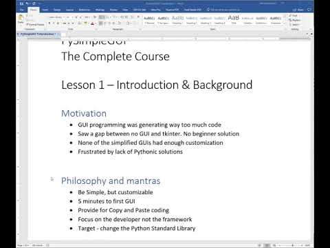 Lesson 1 - PySimpleGUI The Complete Course - Introduction and