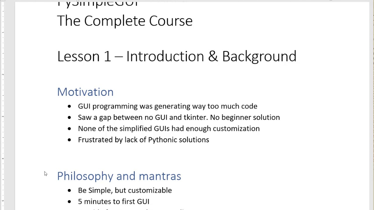 Lesson 1 - PySimpleGUI The Complete Course - Introduction and Background