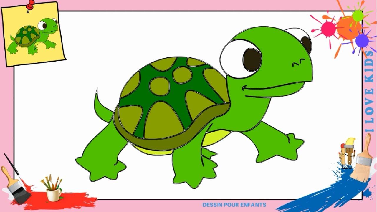 Dessin tortue comment dessiner une tortue facilement etape par etape pour enfants youtube - Tortue en dessin ...