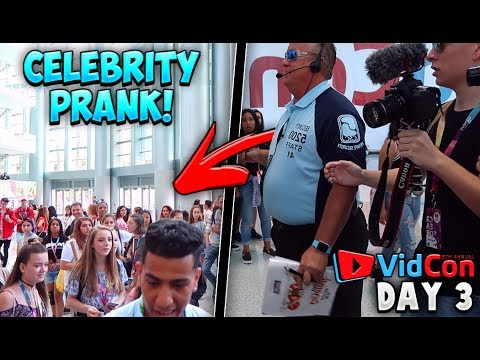 CELEBRITY PRANK ON THOUSANDS OF PEOPLE! *Security Called!* | Vidcon Day #3