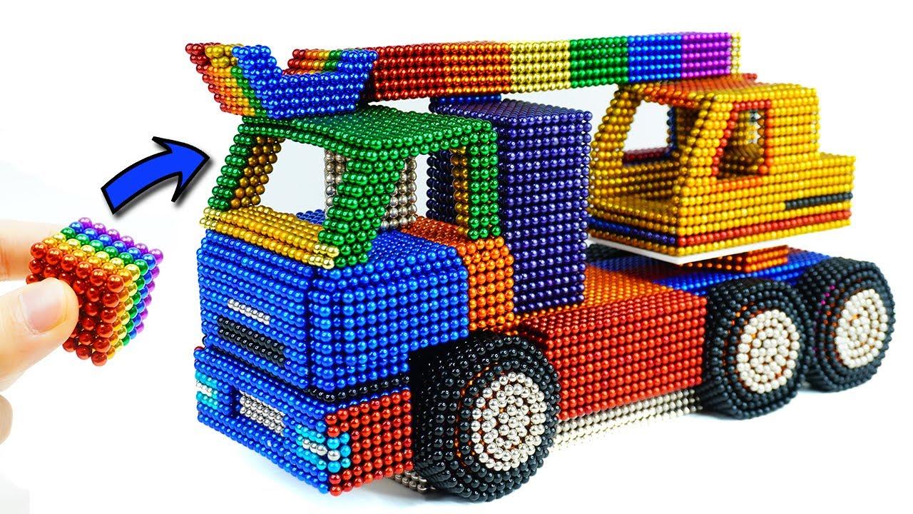 네오큐브 자석으로 굴삭기 운반 트럭 자동차 만들기 ASMR