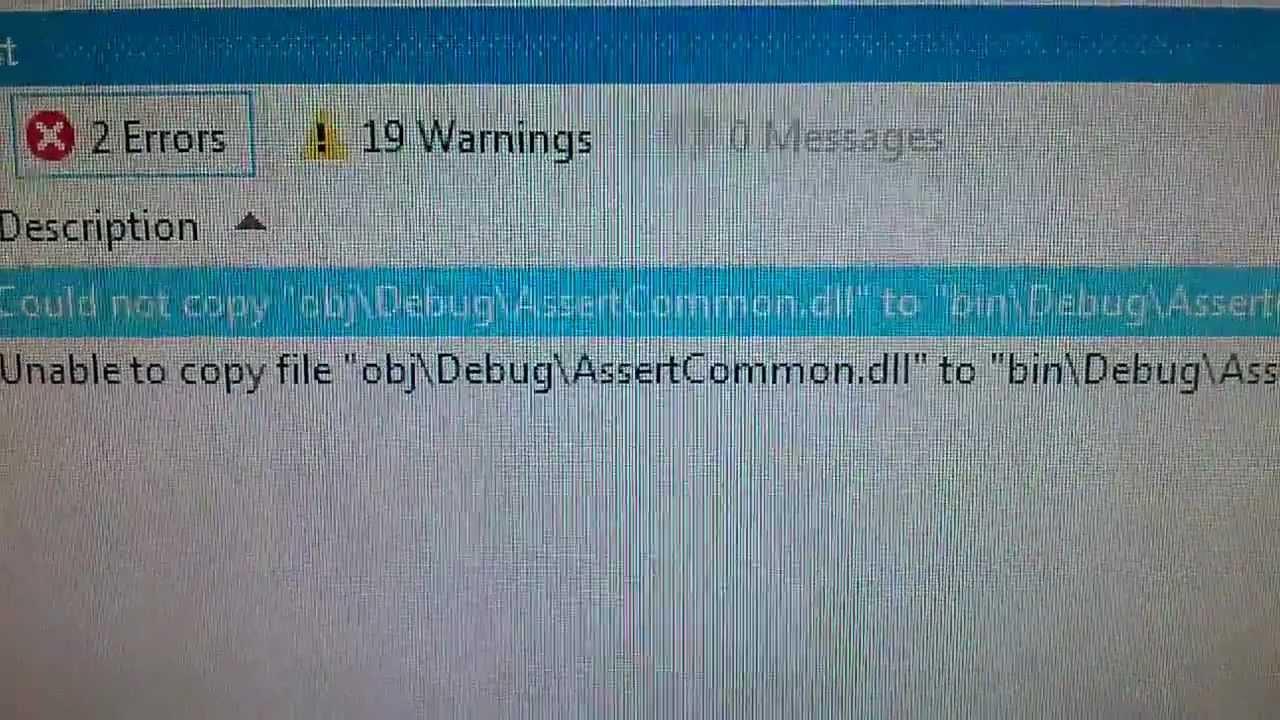 Error Unable To Copy File Obj Debug Dll To Bin Debug Youtube