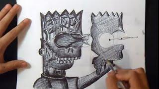 "Cómo dibujar a Bart Simpson Graffiti  ""Pezartwork"" Modo Fácil"