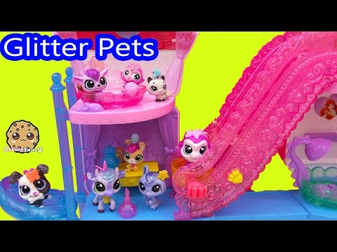 Littlest Pet Shop Glitter Pets Exclusive LPS Set Unboxing At Disney Princess Palace Pets Castle