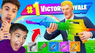 Intense Fortnite RAINBOW Gun Challenge With My Little Brother!