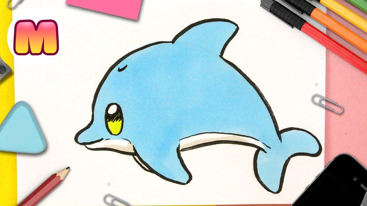 COMO DIBUJAR UN DELFIN KAWAII FACIL PASO A PASO - Como dibujar y pintar animales kawaii