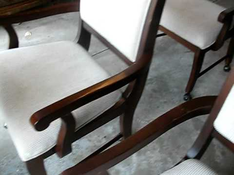 Dining Room Chairs 4 Arms Fabric Seat Coasters DEAL!!!