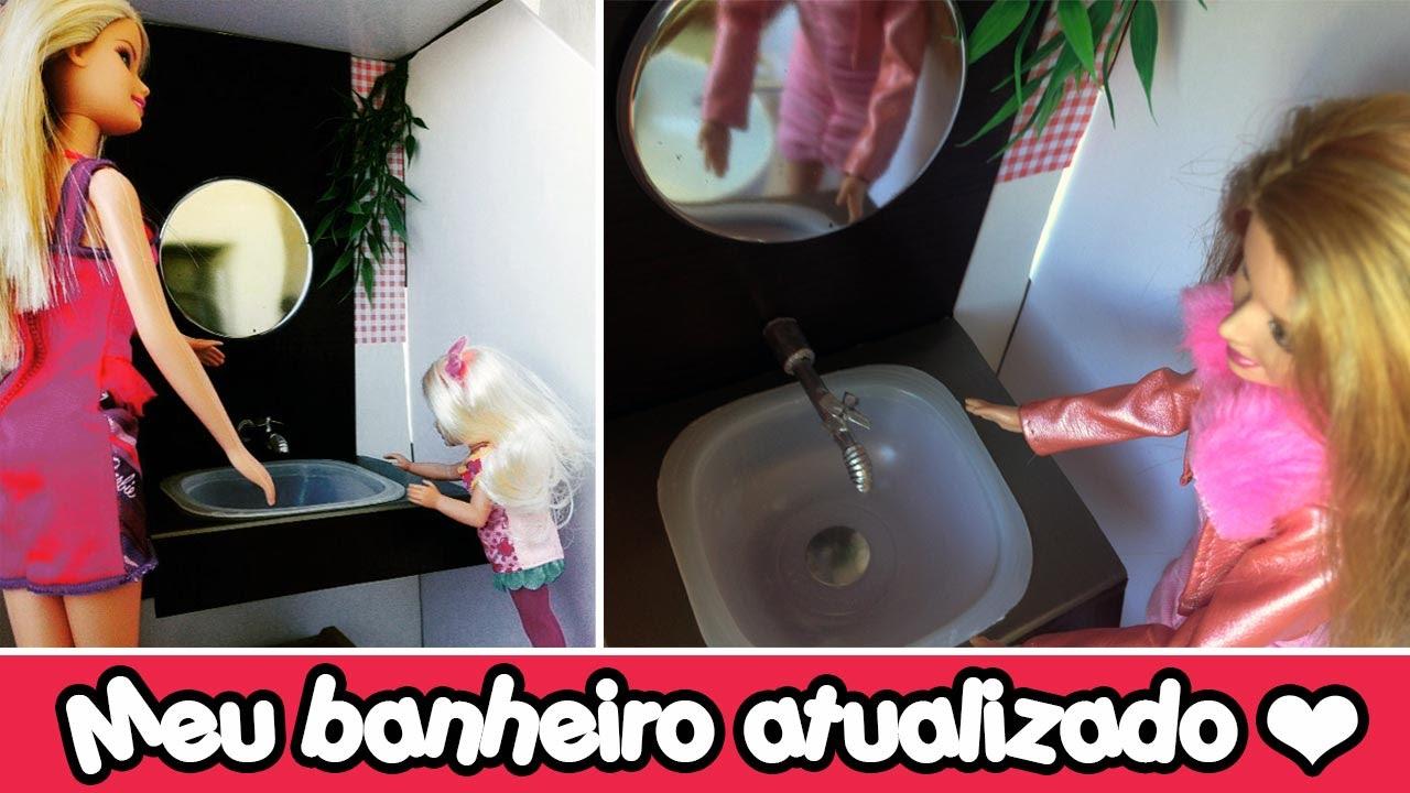 Como fazer torneira e pia de banheiro para Barbie e Outras bonecas  YouTube -> Como Fazer Pia De Banheiro