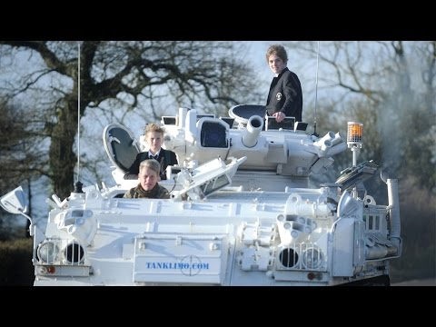 Dad Drops Kids To School In Army Tanks