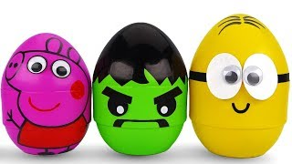 3 Colors Play Doh Giant Kinder Surprise Eggs Suprise Toys PJ Masks Yowie Disney princess Toys
