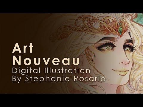 Timelapse Digital Illustration Bianca Art Nouveau Youtube