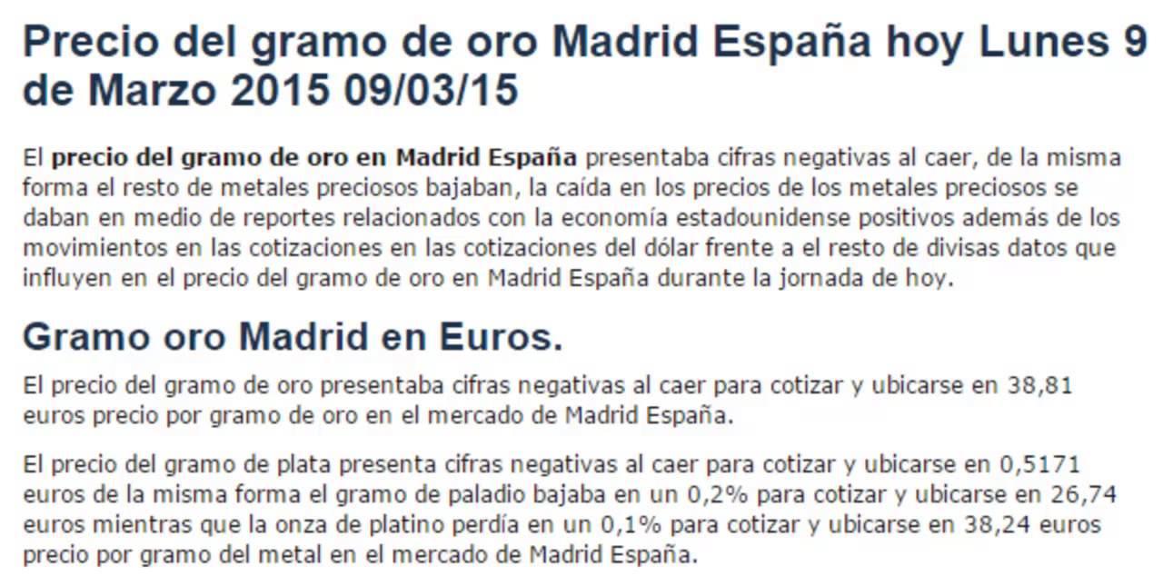 Precio Del Gramo Oro En Madrid España Hoy Lunes 9 De Marzo 2017 09 03 15