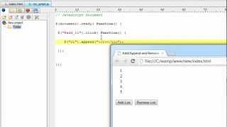 Append/Add and Remove HTML Elements: jQuery
