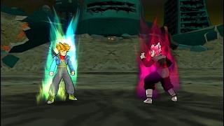Trunks Ssj Blue False Vs. Black Goku Ssj Rose (Shin Budokai 2) RECREACIÓN DE BATALLA
