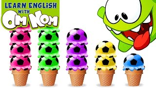 Download Baby Om Nom LOVES ICE CREAMS! Learn Colors for Babies with Yummy Soccer Ice Cream Scoops by Om Nom! Mp3 and Videos