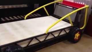 Baja Kids Yellow Red Twin Metal Racing Car Bed