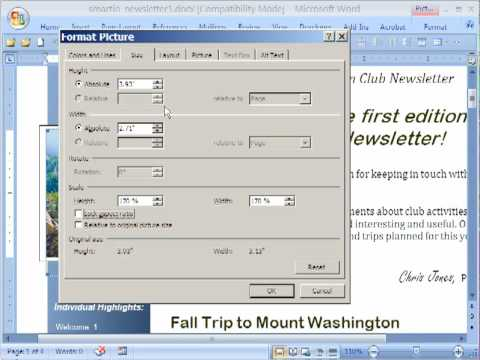 Adjusting Aspect Ratio of Photos in Word 2007