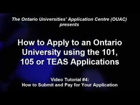 How to Submit and Pay for your Application (OUAC)