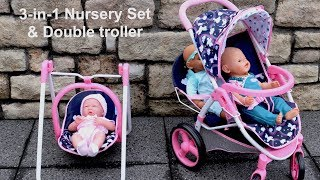 Baby Dolls Unicon Nursery Center 3-IN-1 Playset Double Pram Unboxing Set Up Baby Born Baby Annabell
