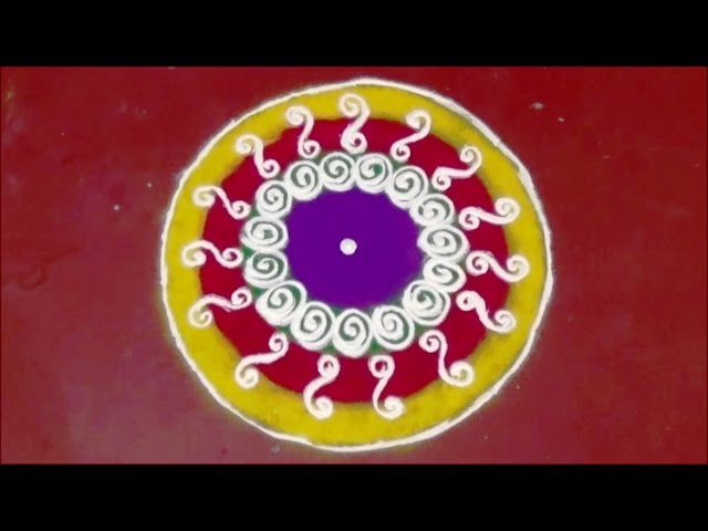 Simple Rangoli Designs for Beginners | Circle Rangoli design