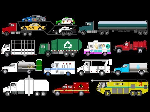 Trucks 3 - Street, Emergency & Commercial Vehicles - The Kids' Picture Show (Fun Learning Video)