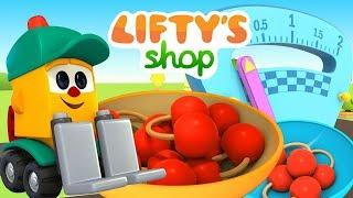 Çizgi film Lifty's shop. Lifty kiraz satıyor.