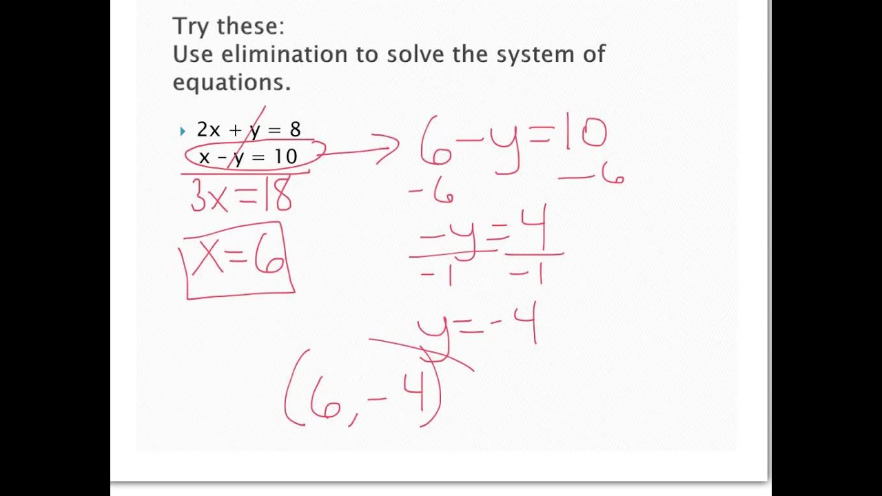 31 321 Solving Systems Elimination 2 Examples Algebra 2