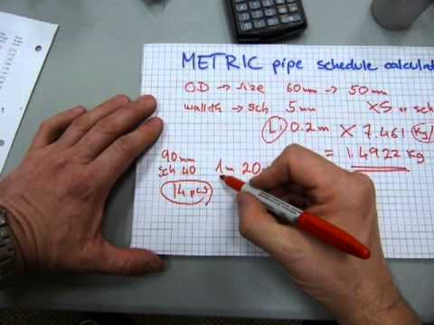 Pipe weight/water calculation in METRIC - YouTube