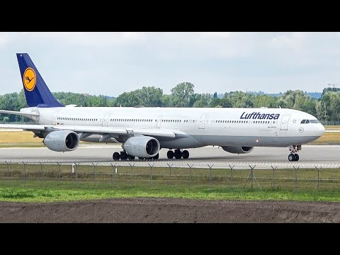 (4K) Plane Spotting At Munich: Lufthansa Airbus A340-600 Landing, Taxi And Take-off!